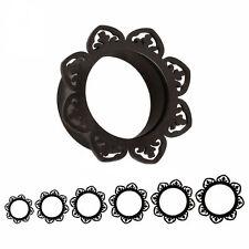 BLACK FLORAL DOUBLE FLARED STEEL EAR FLESH TUNNELS Piercing Jewellery TU98