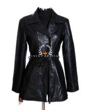 Olivia Ladies Black Womens Smart Casual Lambskin Leather Jacket Trench Coat