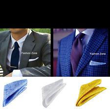 Mens Pocket Square handkerchief Fold Blazers Suits Blue White Green Gold Peach