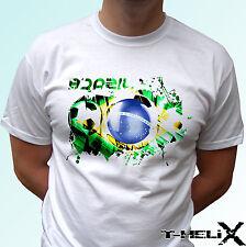 Le brésil football flag-blanc t shirt top football tee-hommes femmes enfants bébé