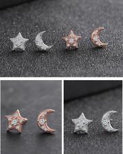 Moon Star Stud Earrings Cubic Zirconia 925 STERLING SILVER ROSE GOLD Gift PE25
