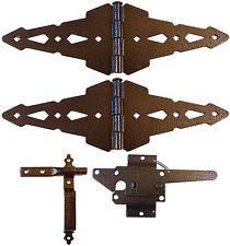 WOOD FENCE SINGLE GATE KIT: Hinges, Latch, Handle -Bronze Gate Hardware -Western