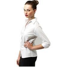 Premier PR305 Damen 3/4 Ärmel Popeline bluse Einfarbig Arbeitshemd Größen 6-26