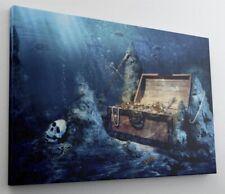 Schatztruhe Gold Schatz Truhe Wasser Leinwand Bild Wandbild Kunstdruck L1000