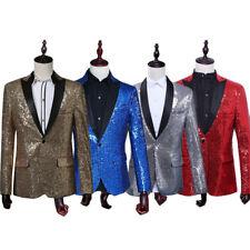 Men Sequin Blazer Suit Jacket Coat Tuxedo Wedding Formal Party Costume Dancewear