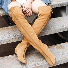 Black/Brown Womens Hidden Wedge Low Heel Suede Leather Over the Knee Boots Flats