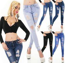 Damen Jeans Hose Risse Fetzen Röhrenjeans Skinny Slim Fit Stretch XS S M L XL