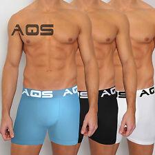 AQS Men's Boxer Briefs Trunks 95% Polyester, 5% Lycra Teal/Black/White 3 Pack