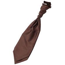 DQT New Solid Plain Shantung Chocolate Brown Mens Cravat Pocket Square Cufflinks