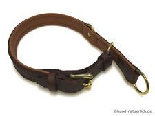 Zugstopp Lederhalsband für Hunde braun, Messing Leder Halsband Hundehalsband