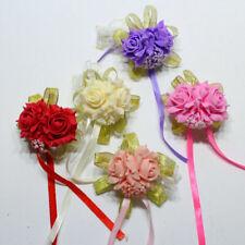 Foam Rose Flowers Bridal Bridesmaid Wrist Corsage Wedding Party Ribbon Bracelets