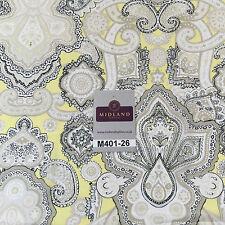 "Daffodil Yellow & White Ornamental Light Chiffon Printed Fabric 58"" M401-26 Mtex"