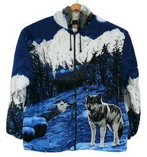 Fleece Jacke Wolf Wölfe, Kapuze,Gr.M-L-XL-2XL,Teddy-Futter, Western Cowboy Biker