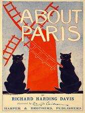 Vintage Deco POSTER.About Paris.French Cats.Decor.House Interior design.1110