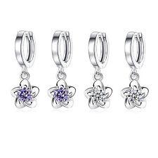 Fashion Jewellery 925 Sterling silver Plum Flower Party Crystal Dangle Earrings