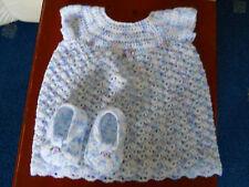 Hand crochet light weight yarn baby dress & shoes
