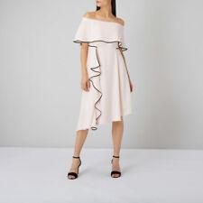 Ex COAST Amory Tipped Assymetric Soft Pink Frill Bardot Dress Size 6 -22 rrp£119