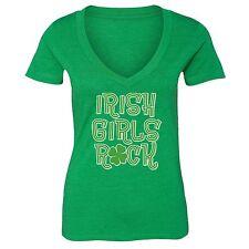 St Patrick Day shirt Shamrock Clover Irish Women V-neck T-Shirt Tee Green 9