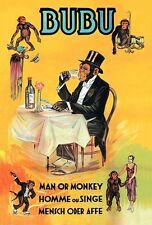 VINTAGE GOWN The Human singe cirque affiche d'impression A3