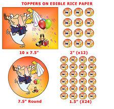 FUNNY SPOSA trasportano SPOSO WEDDING CAKE / TAZZA CAKE TOPPER DECORAZIONE su carta di riso