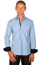 Ugholin Camisa para Hombre Casual Azul 100% Algodón de Manga Larga