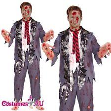 Mens Halloween Zombie Bloody Horror Costume School Boy Student Fancy Dress Adult