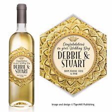 PERSONALISED gold wine label Birthday Engagement Wedding Golden Anniversary Hen