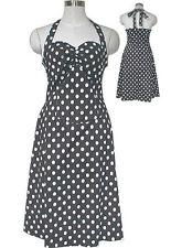 Plus Size Rockabilly Retro Black White PolkaDot Halter Swing Dress2X-4X DAMAGED