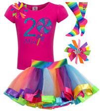 Lollipop 2nd Birthday Two Girl Shirt Rainbow Tutu Outfit Sock Bow Custom Name 2