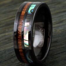 8mm Black Men's Ring Tungsten Hawaiian Koa Wood Abalone Band - Engravable