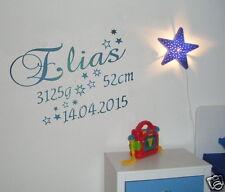 Wandtattoo mit NAME+Geburtsdaten Kinderzimmer Baby Geschenk zur Geburt SternTK11