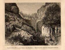 Stampa antica MENTON Mentone Ponte Sainte-Dévote 1868 Ancienne Gravure Old Print