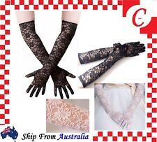 LONG Ladies Fashion Party Costume Wedding Floral Lace Gloves Lingerie Vintage