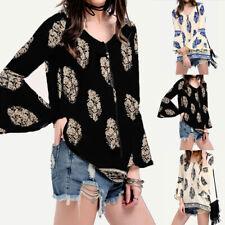 ZANZEA AU8-24 Women Bell Sleeve Boho Pullover Top Shirt Tee V Neck Floral Blouse