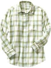 NWT Old Navy Girls Plaid Flannel Boyfriend XS (5) or M (8) Green White Top Shirt