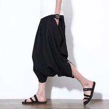 Mens Japanese Samurai Casual Loose Harem Baggy Hakama Capri Cropped Pant Trouser