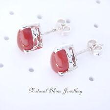 Stud Earrings 925 Sterling Silver 8x5mm Drop Semi-Precious Natural Gemstone Cab