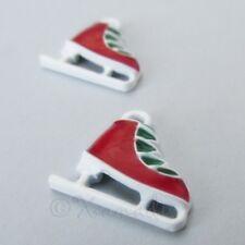 Ice Skates Charms - 18mm Winter Christmas Enamel Pendants C7351 - 2, 5 Or 10PCs