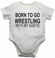Born to Go Wrestling mit Meine Tante - Neu Baby Westen Body für Jungen, Mädchen