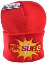 UK Subs tricot rouge brodée Bonnet Chaud Hiver Punk 1977 Yellow Leader