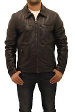 Mens Black Cowhide Leather Classic Retro Zip Bomber Collar Smart Jacket