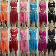 Belly dance Bauchtanz Kostüm Kleid Rock Outfit Bollywood orient Münztuch DE