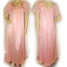 USA MADE PINK SHEER Cap Sleeve NIGHT GOWN Intimate Sleepwear MAXI DRESS Womens M