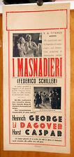 Lil Dagover I MASNADIERI - FRIEDRICH SCHILLER locandina originale 1942 RARA!