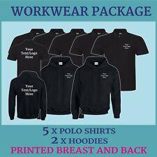 Work Wear Uniform Package Custom Printed 2 Hoodies 5 Polo Shirts Personalised