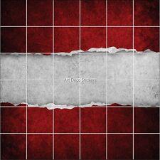 Stickers carrelage mural déco Papier déchiré rouge 1882