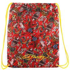 Ed Hardy Tattoo Graphic Drew Drawstring Beach Sport Yoga Backpack Knapsack Bag