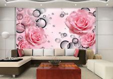 3D Rouge Rose 098 Photo Papier Peint en Autocollant Murale Plafond Chambre Art