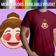 Beauty Beast Belle Emoji Heart Eyes Disney Unisex Mens Tee Crew Neck T-Shirt