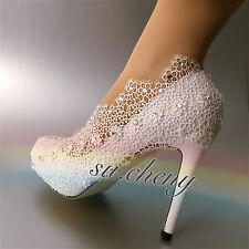 Blanco 10.2cm Tacón Plataforma Fino Encaje Zapatos Boda Diamante Boda Talla 5-10